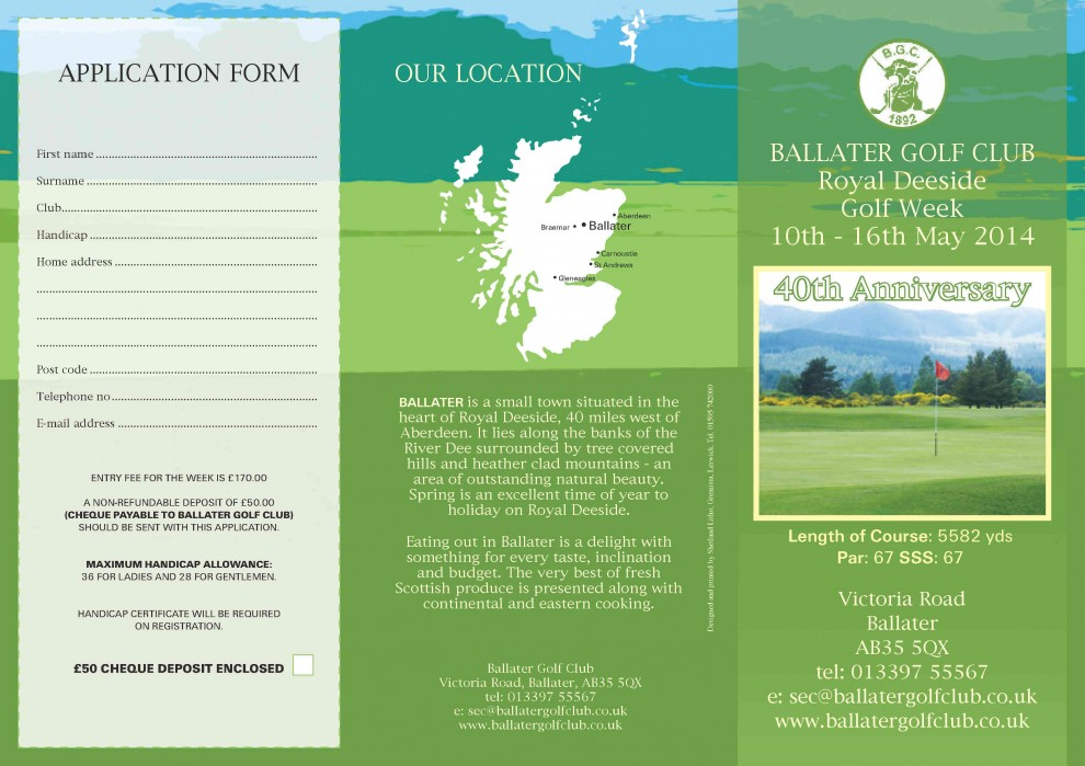 Royal Deeside Golf Week - 10th-16th May 2014