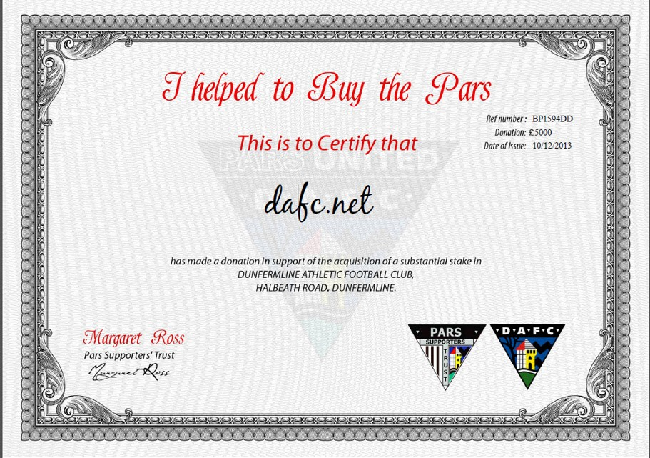 I Bought the Pars - two more certificates DAFC.net